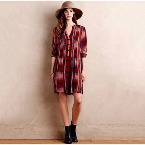 Anthropologie Shirt Dress Red Plaid Long Sleeve